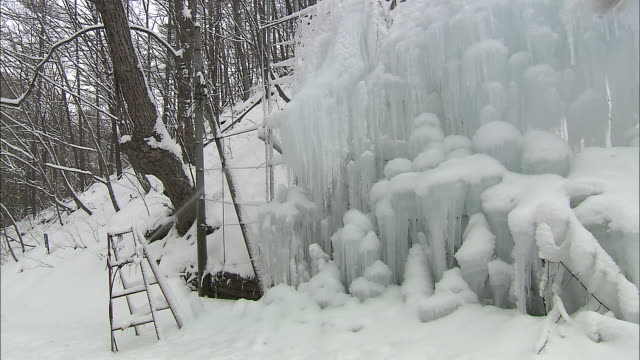 stockvideo's en b-roll-footage met a water sprinkler sprays a frame with artificial icicles in karuizawa, japan. - keukentrap