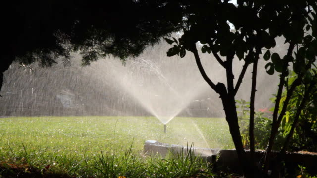 water sprinklers showering grass in sunlight. hd - sprinkler system stock videos & royalty-free footage