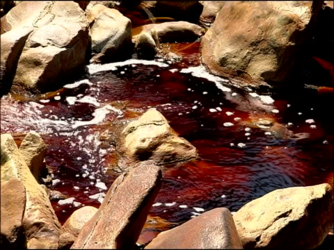 water stained red by mineral ores (iron & other minerals at very high ph), rio tinto, huelva, andalusia, spain - other stock videos & royalty-free footage