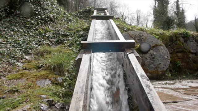 Wasserstrom im Bergwald in Zeitlupe