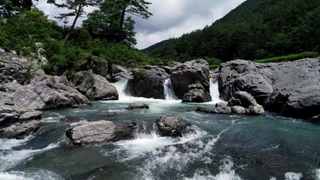 water stream of gumun pond in taebaek mountain, gangwon province, south korea - rock formation stock videos & royalty-free footage