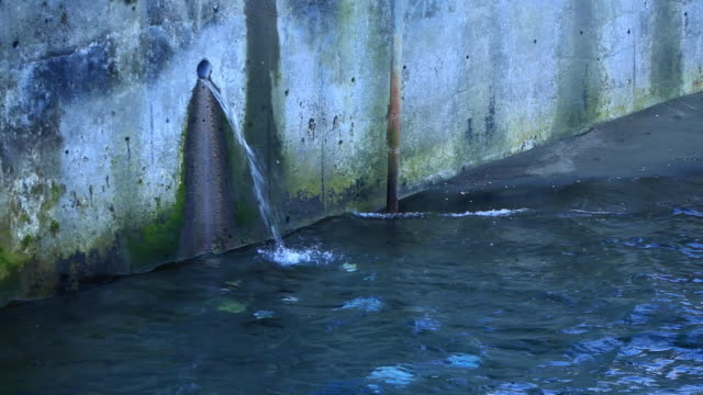 CU Water streaming out of hole through wall / Dalcahue, Isla Grande de Chilo̩, Chile