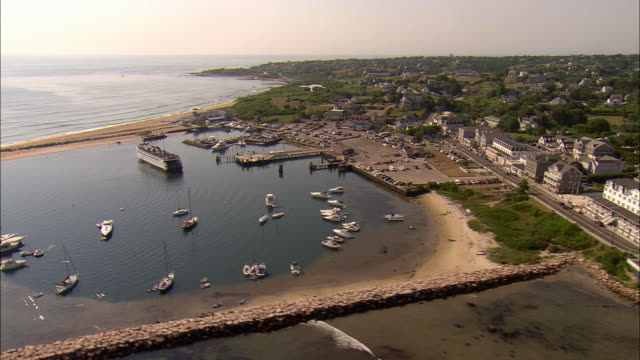 aerial, water street ferry terminal at block island, rhode island, usa - ferry terminal stock videos & royalty-free footage