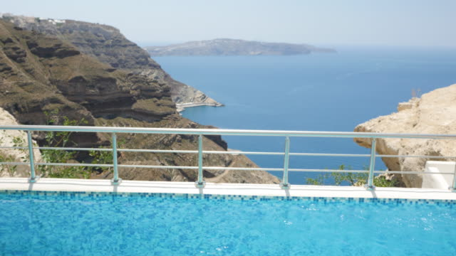 water surface at pool & aegean seascape - landscaped stock videos and b-roll footage