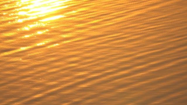 Surface de l'eau 4K dans le vent au bord du lac avant le coucher du soleil