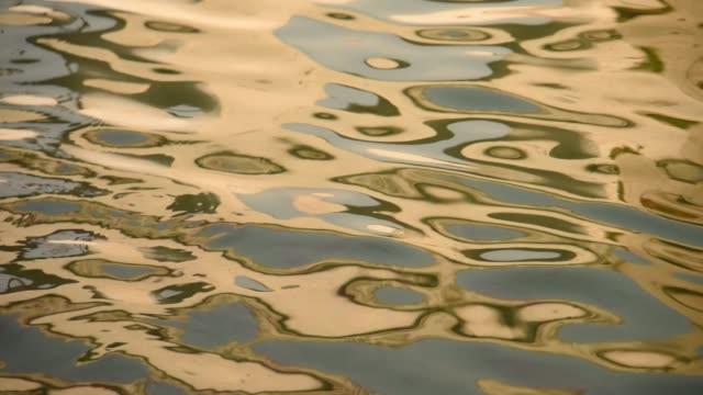 vídeos y material grabado en eventos de stock de water surface with moving wave of golden water reflecting sunlight - imagen virada