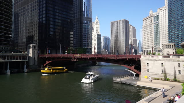 water taxi on the chicago river, chicago - water taxi stock videos & royalty-free footage