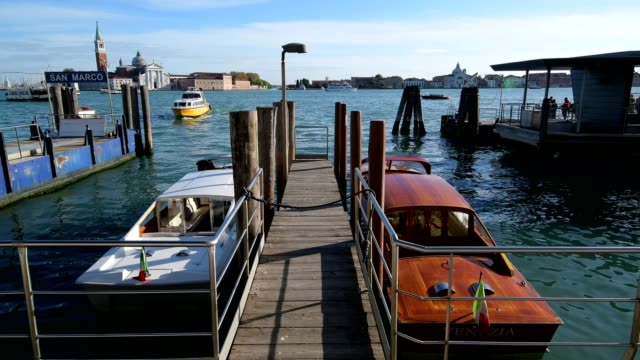 Water taxis at Grand Canal, Venice, Venetian Lagoon, Veneto, Italy