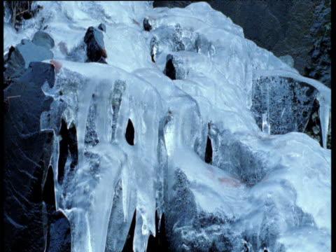 water trickles over frozen waterfall, czechoslovakia - frozen water stock videos & royalty-free footage