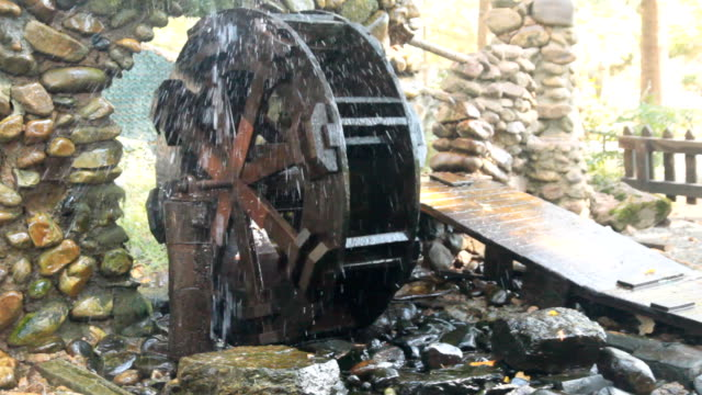 hd: water turbines - water wheel stock videos and b-roll footage