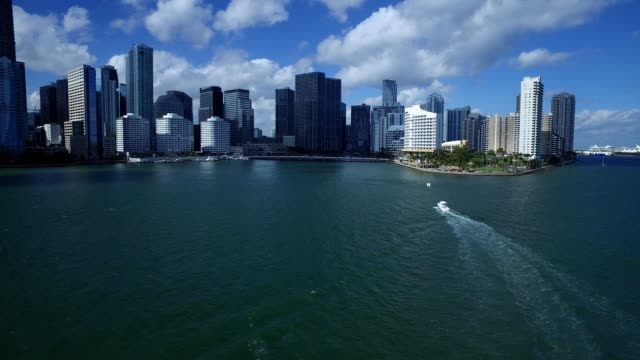 water view of downtown miami - downtown stock videos & royalty-free footage