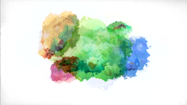 watercolor on paper - splashing stock videos & royalty-free footage