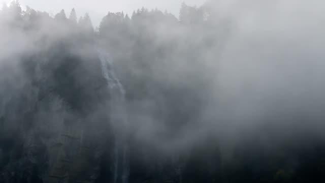 Wasserfall und forest wird von Nebel, cliff Gesicht