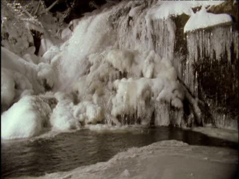 Waterfall and pool freeze