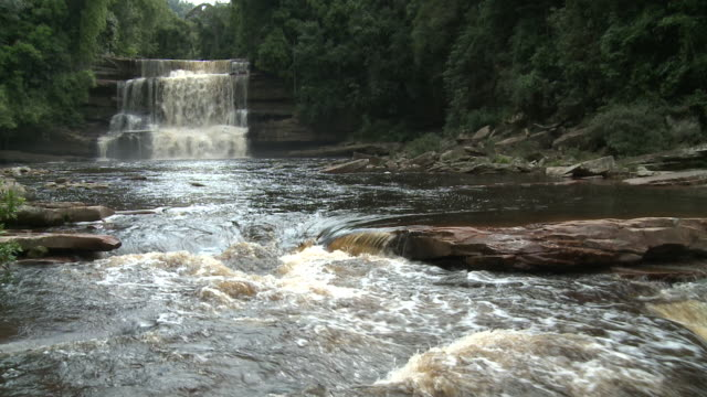 waterfall and river and pool, maliau basin, sabah, malaysia, borneo - malaysia stock videos & royalty-free footage