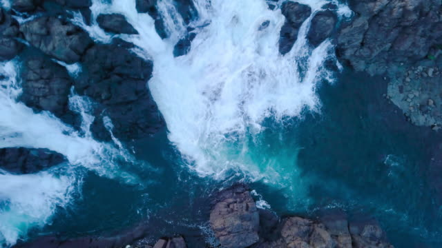 waterfall and stream from above on iceland - moss stock videos & royalty-free footage