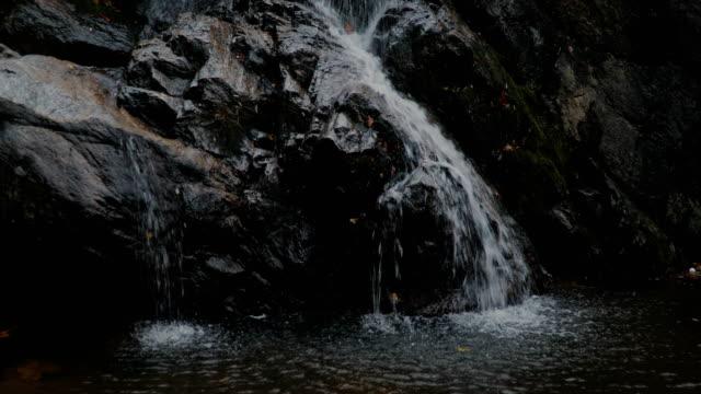 Wasserfall am Gebirgsfluss im herbstlichen Wald