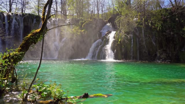 waterfall at plitvice lakes national park - waterfall stock videos & royalty-free footage
