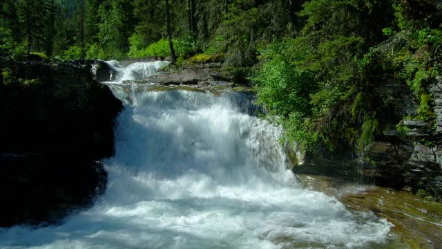 A waterfall cascades through Glacier National Park in Montana.