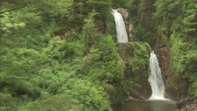 a waterfall flows over two mountain ledges in chile - fensterbank stock-videos und b-roll-filmmaterial