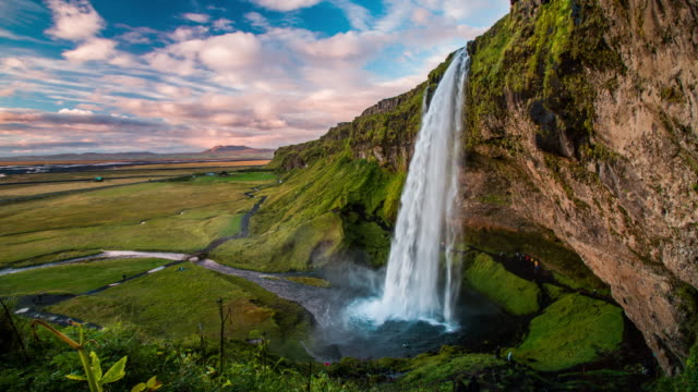 waterfall, iceland - seljalandsfoss - seljalandsfoss waterfall stock videos and b-roll footage