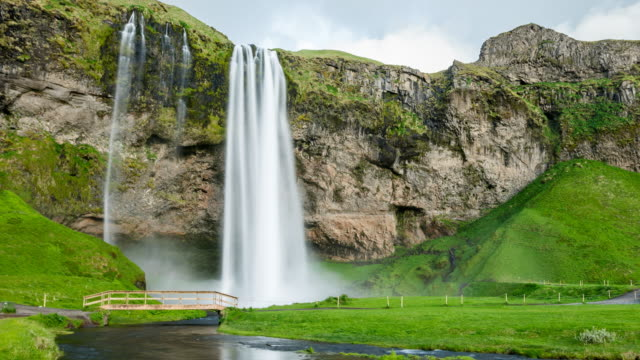 Waterfall in Iceland time lapse