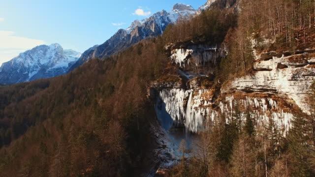 AERIAL Waterfall in Julian Alps
