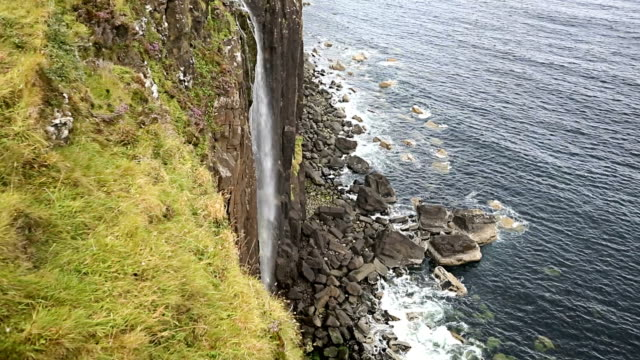 waterfall in kilt rock - scottish highlands stock videos & royalty-free footage