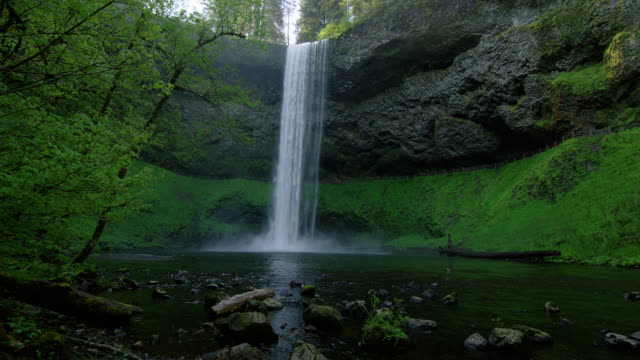 LOW ANGLE WIDE SHOT waterfall in lush green forest