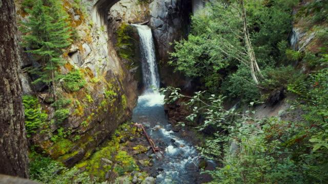 waterfall in mt rainier national park - mt rainier national park stock videos & royalty-free footage