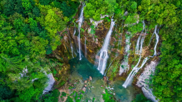 AERIAL: Waterfall in Plitvice Lakes National Park
