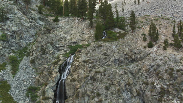 waterfall in the high sierra - drone shot - wilderness area stock videos & royalty-free footage