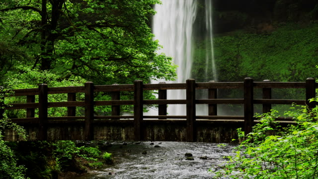 A waterfall in the Silver Falls of Oregon cascades into the Columbia River Gorge near a wooden footbridge.