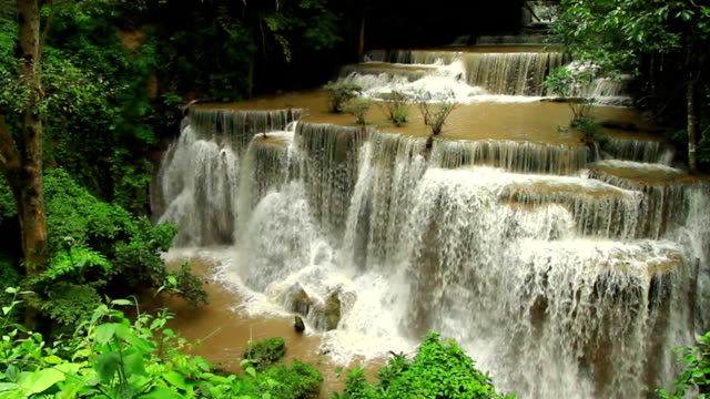waterfall namtok huay mae khamin in kanchanaburi; thailand - named wilderness area stock videos & royalty-free footage