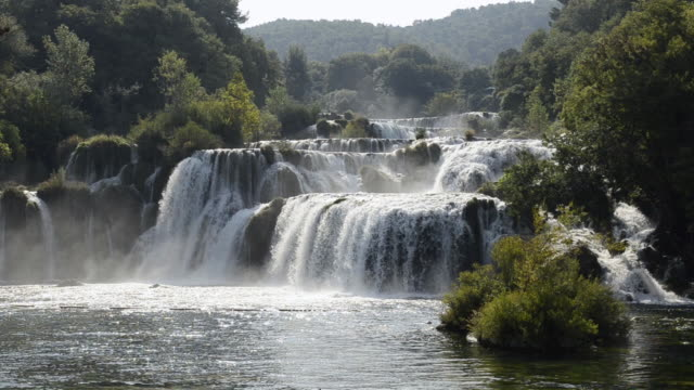 ws waterfall of national park  / krka, dalmatia, croatia - waterfall stock videos & royalty-free footage