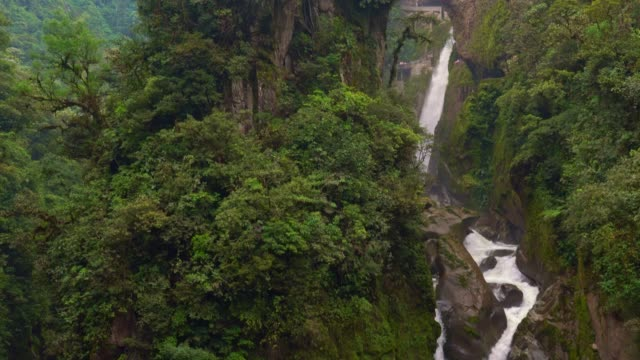 waterfall on cascade route at banos - ecuador stock videos & royalty-free footage