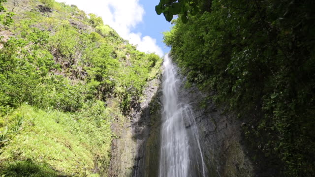 stockvideo's en b-roll-footage met waterfall on fatu hiva - frans polynesië