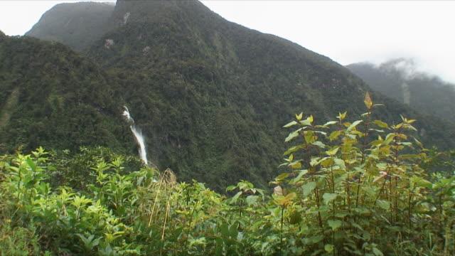 MS LA Waterfall on side of mountain, Doubtful Sound, New Zealand