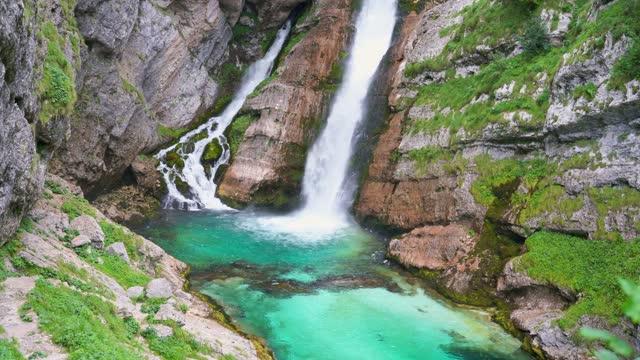 waterfall savica, slovenia - slovenia stock videos & royalty-free footage