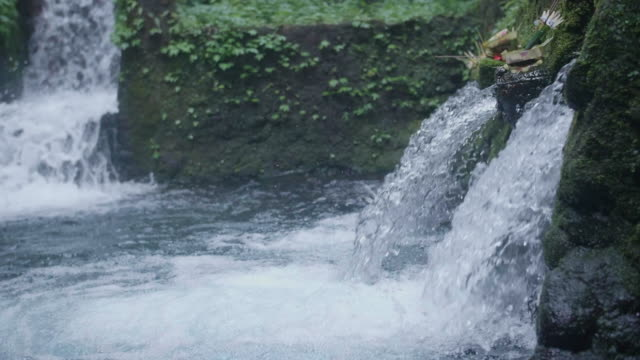 waterfall scenic view in exotic tropical bali, indonesia. - ubud district stock videos & royalty-free footage