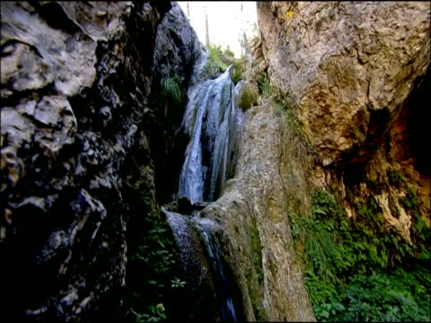 Waterfall, tilt down, Autumn, Parque Natural Los Alcornocales, Andalusia, Southern Spain