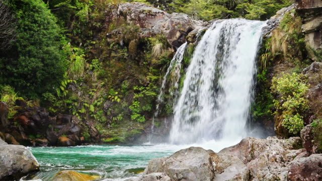 loopable: waterfall - tongariro national park stock videos & royalty-free footage