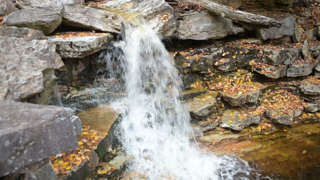 waterfall with autumn leaves in minnewaska state park new york - ulster county stock videos & royalty-free footage
