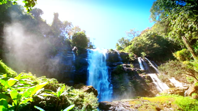 Waterfall with the rain forest at Wachirathan Waterfall.