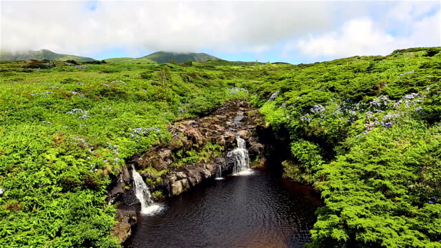 Waterfalls on highlands of Flores Island on Azores / Portugal