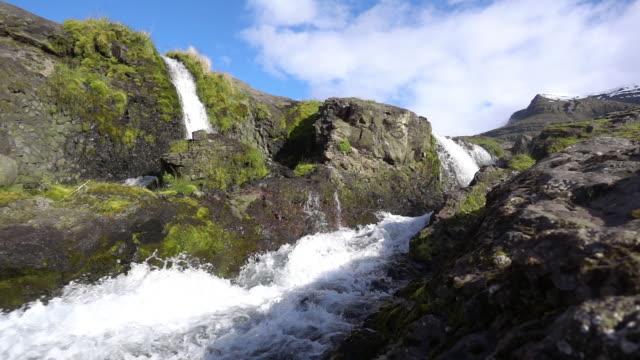 Waterfalls through Iceland rocks