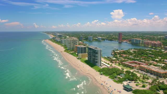 aerial waterfront along the lake boca raton, fl - tourist resort stock videos & royalty-free footage