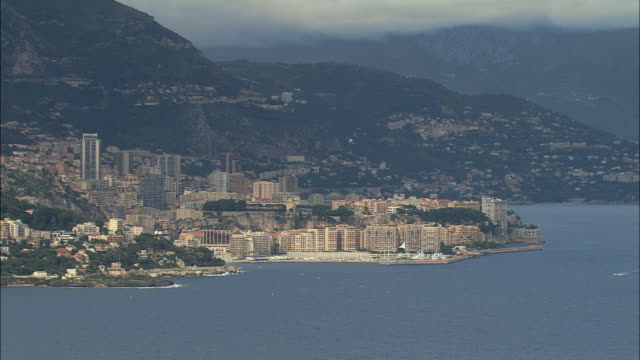 aerial ws waterfront cityscape / monaco - monaco stock videos and b-roll footage