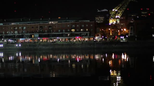 waterfront illuminated at night puerto madero buenos aires argentina - puerto madero stock videos & royalty-free footage