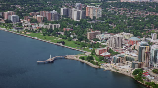 aerial waterfront of burlington, ontario - ontario canada stock videos & royalty-free footage